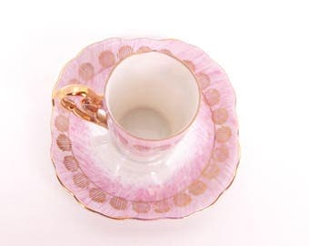 Vintage Pink Demitasse Teacup Saucer Iridescent Tea Cup Japan Pearlized Demi Lusterware Gold Trim Tea Set Ornate