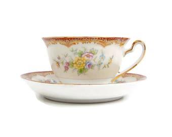 Vintage Kikusui China Japan Teacup Saucer Rust Border Cream White Floral Sprays Tea Party Coffee Cup