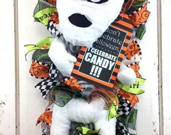 Halloween Mummy Swag - Halloween Wreath