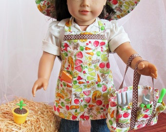 "Gardening/Outdoor (Apron, Tote, and Hat) Ensemble for 18"" Doll American Made"