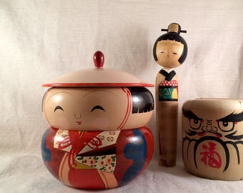 Japanese Girl Lacquerware Container