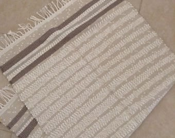 Hand Woven Rag Rug, Throw Rug, Floor Runner, Table Runner, Dog Rug of various knits in Pale Green, Cream, Tan, Taupe