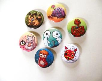 Ghibli button pack 2, spirited away, ponyo, mononoke, catbus, castle in the sky, anime, geek,