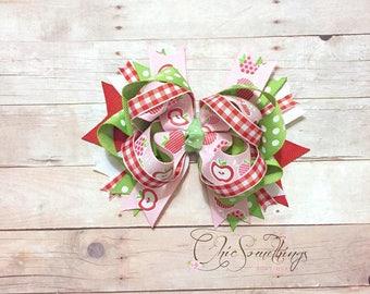 apple bow, apple hair bow, apple birthday, first birthday, apple bow cake smash bow, pink red apple bow, apple headband, apple birthday bow