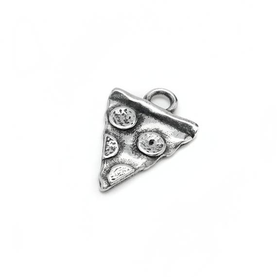 Pepperoni Pizza Slice Charm - Add a Charm to a Custom Charm Bracelets, Necklaces or Key Chains -  Nickel Free Charms