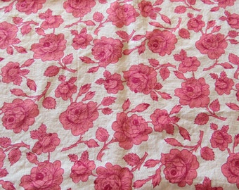 vintage FULL feed sack fabric -- pink and red roses floral print