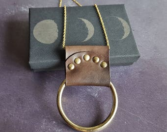 Lunar Necklace, moon phase jewellery witch necklace moon phase accessory lunar necklace pagan leather necklace viking shield maiden necklace