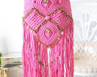 sac rose ethnique hippie chic franges, clochettes