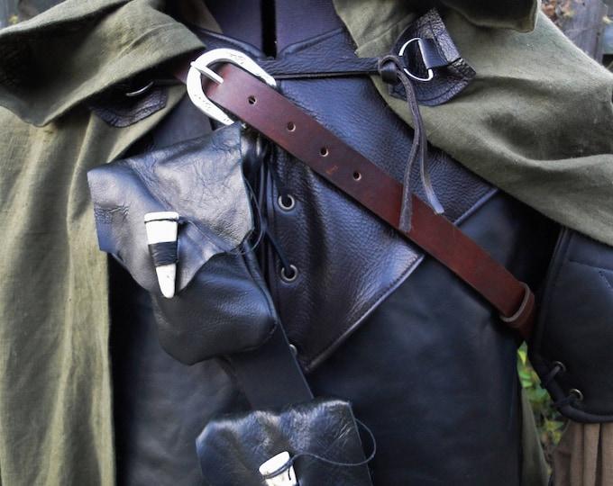 Ranger Leather Belt W/ 2 Pouches, Medieval Archer Costume Accessory, Mens - Choose Size