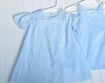 Vintage Baby Clothes, Girls 40s 50s Blue Dress w/ Slip, White Embroidery, 1st Birthday, Easter, PinTucks, Size 12-15 Month, Doll Dress