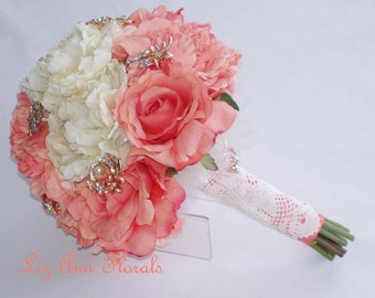 Coral Brooch Silk Bouquet,  Jeweled Wedding Bouquet Silk Flower Wedding Bouquet Bridal Bouquet Silk Peonies, Ready To Ship