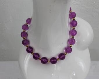 Vintage Necklace Purple Plastic Clear Beads