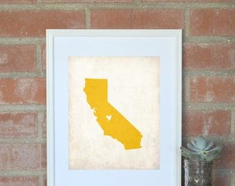 California Rustic State Map. Personalized California State 8x10 Art Print. Honeymoon Map. Wedding Map. Wedding Gift. Vacation Map.