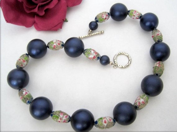 Blue Bead Necklace - Cloisonne Spacers - Navy Blue Lucite  Beads