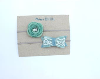 Teal and Sea Blue Lace Felt Flower and Bow Headband Set/ Newborn Bows/Nylon Headband/ Photo Prop/ Elegant Headband