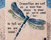 "Dragonfly Art,Dragonfly Painting on Coaster, Oil Painting,Dragonfly Oil painting,4' and 6"" Tile,"
