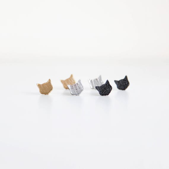 Cat stud earrings- leather earrings- black cat earrings- cat gold earrings- cat silver earrings- earrings set- gift for cat lovers
