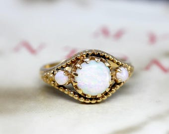 Opal Three Stone Ring, Etruscan Victorian Revival Opal Ring, Vintage Alternative Engagement Ring, 14k Yellow Gold  Anniversary Ring