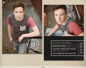 Senior Graduation Card Template, Graduation Announcement, Open House Invitation, High School, College, Class of 2018, 2019, Photo Card - G39