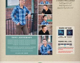 Senior Yearbook Ad Templates, Graduation Ad, High School, Middle School, College, Full Page, Half Page, Quarter Page, 2018, 2019 - Y6B