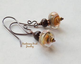 Lemon Yellow Lampwork Glass Bead Earrings, Swirls of Golden Yellow with Brown Stone Drop, Copper Summer Jewelry