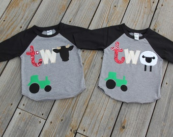 Twins Farm Birthday Shirts, Second Birthday Shirts, Farm Party Raglan, Boys Birthday Shirts