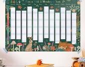 2019 Wall Planner - 2019 Calendar - Wild & Wonderful Year - Wildlife Wall Planner - Year Planner - Wall Calendar - 2019 Planner