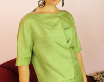 Gorgeous 1950s/1960s Two-Piece Lime Green Blouse and Skirt Suit Set Silk Dupioni Size SMALL