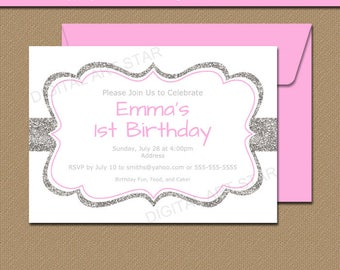 1st Birthday Invitation, Silver Glitter Invitation, Girl Birthday Invitation,  Bridal Shower Invitation,