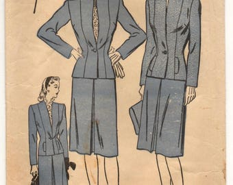 "1940's Advance Suit Dress with Flat Collar and One-Button Jacket Pattern - Bust 36"" - No. 3964"