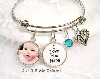 Photo Charm Bracelet Mom Gift for Grandmother Charm Bracelet Custom Picture Jewelry Personalized Message Nana Gift for New Grandmom Bracelet
