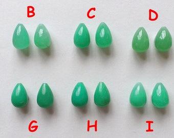 Green Chrysoprase Half Top Drilled 8x12 mm Teardrops Briolettes One Pair G6085