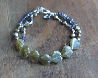 Freshwater Pearl, Smoky Quartz, and Labradorite Heart Two-Strand Bracelet