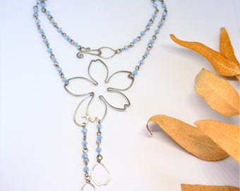 Silver flower necklace Nature Bridal Wedding jewelry Light blue chain drop necklace Set earrings Anniversary gift for women Christmas gifts