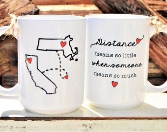 STATE to STATE Long Distance Mug - 2 States - 2 Cities - Color and Quote