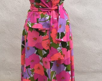Vintage Kawaii neon floral skirt blouse outfit custom made sz S/M