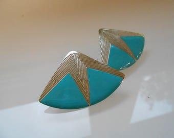 80s Earrings/ Southwest Earrings/ Aztec Earrings/ Art Deco Studs/ 80s Studs/ Tribal Stud Earring/ Teal Earring Vintage/ Turquoise Studs