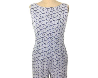 vintage 1960's tennis racket romper / Dutchmaid / blue white / polyester / playsuit / novelty print / women's vintage romper / tag size 14