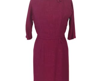vintage 1950's pink wiggle dress / Tween Craft Forstmann / wool / Joan Holloway Mad Men / women's vintage dress / size large