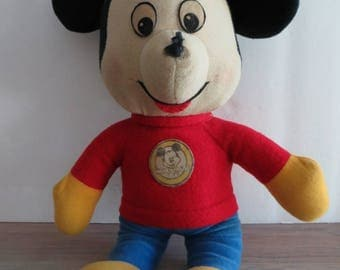 Vintage 70s Mickey Mouse Club stuffed animal plush toy, Knickerbocker Toy Company