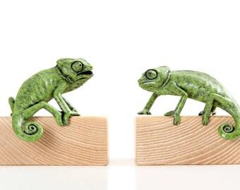 Chameleons, pair of juveniles. Limited edition bronze