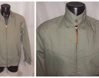 Vintage Men's Jacket Lightweight 1950s 60s Towncraft Windbreaker Light Jacket Cotton Blend Gray Green Rockabilly Greaser M chest to 40