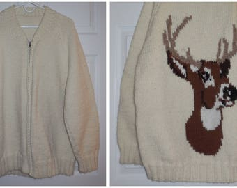 Vintage Men's Sweater 1960s 70s Deer Head Sweater Cowichan Style Heavy Wool Sweater Zip Front Cardigan with Deer Buck L chest to 48 in