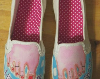 Barefoot Shoes-Bare Feet-Hand Painted Canvas Slip On Shoes-Vans-Toes-Toe Rings-Hand Painted Bare Feet Shoes-Hippie