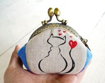 Cat coin purse, Hand painted coin purse, Metal frame purse