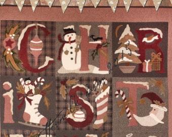 Merrie Christmas, Quilt pattern,Buttermilk Basin, Angels,Stockings, snowmen, Santas, trees, ornaments, 9 blocks, 42 Square