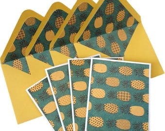 Set of 4 // Note Cards // Blank Note Cards // Pineapple Note Cards // Stationery Set // Pineapple Stationery // Notecards / Blank Stationery