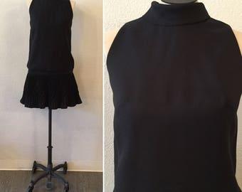 Pixie dress    Vintage black blouson dress    1960's mini dress with pleated skirt