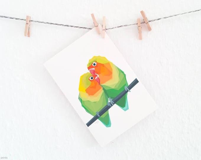 Lovebirds print, Lovebird illustration, Parrot pair, Bird pair, Colourful birds, Gift for partner, Anniversary art, Geometric parrot art