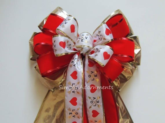 Red Gold Valentine Wreath Bow Red Gold Valentine Swag Bow Gold Red Heart Valentine Gift Basket Bow Valentine Wedding Church Bow door hanger